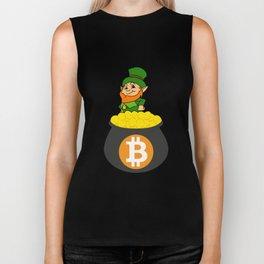 Leprechaun Bitcoin Pot Of Gold St Patricks Day HODL Biker Tank