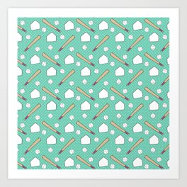 Boy baseball pattern on a teal background Art Print
