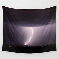lightning Wall Tapestries featuring Lightning by T M B