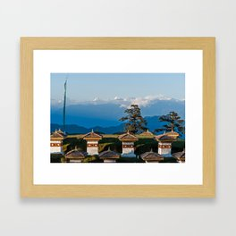 Bhutan: Sunset on Dochula Pass with Himalaya in background Framed Art Print