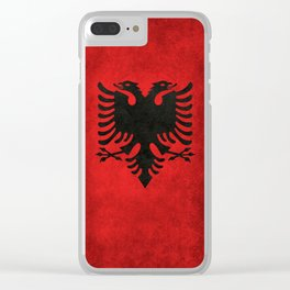 Albanian Flag in Vintage Retro Style Clear iPhone Case