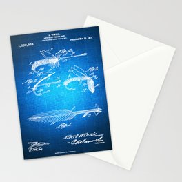 Fly Fishing Bait Patent Blueprint Drawing Stationery Cards