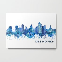 Des Moines Iowa Skyline Blue Metal Print