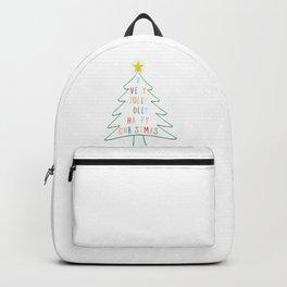 A Very Jolly Holly Happy Christmas Xmas Tree design Backpack