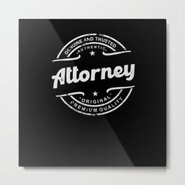 Best Attorney retro vintage distressed logo stamp Metal Print