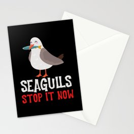 Seagulls Stop It Now Eating Fish Stationery Cards