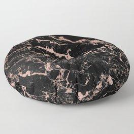 Modern girly faux rose gold foil black marble Floor Pillow