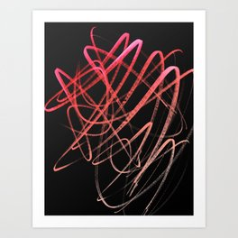 Salmon Pink Wavy Lines on Black Art Print