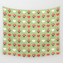 Christmas Pugs and Hearts Wall Tapestry
