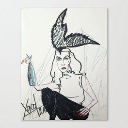 Vampira-bird hat Canvas Print