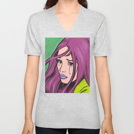 Purple Hair Sad Comic Girl Unisex V-Neck