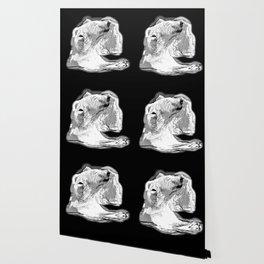 icebear polarbear enjoying vector art black white Wallpaper