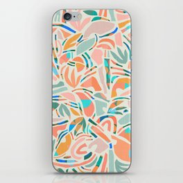 Tropical Cut-Out Shapes in Mint and Orange iPhone Skin