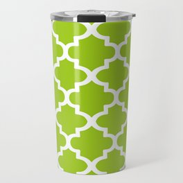 Arabesque Architecture Pattern In Lime Travel Mug