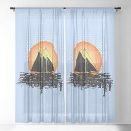 Grunge sailing Sheer Curtain