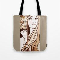 mucha Tote Bags featuring My Mucha by Little Bunny Sunshine
