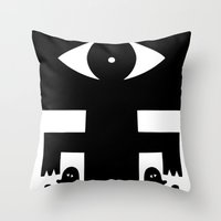 cyclops Throw Pillows featuring Cyclops by Jad Fair