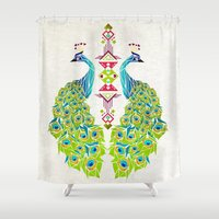 yetiland Shower Curtains featuring peacock by Manoou