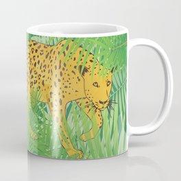 Leopard with tropical leaves Coffee Mug