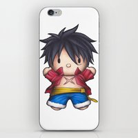 luffy iPhone & iPod Skins featuring Hello Luffy by ADCArtAttack