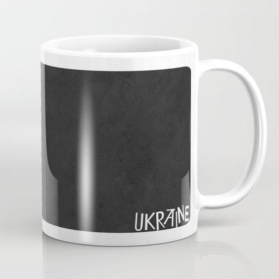 Ukraine Minimalist Vintage Map with Flag Mug