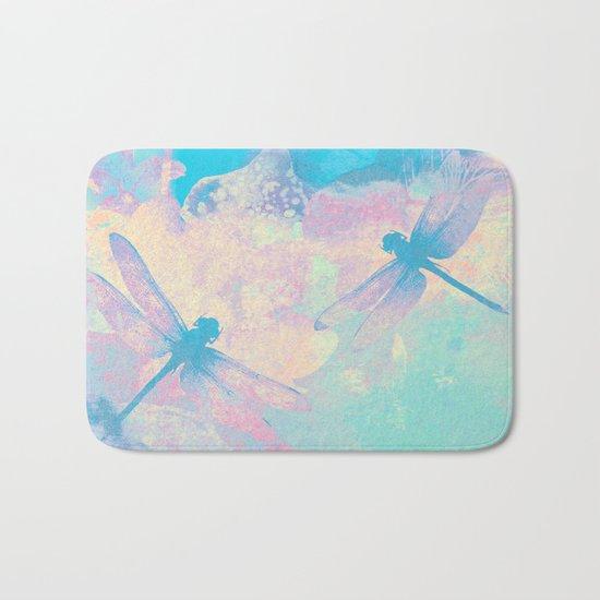 Blue Painting Dragonflies Bath Mat
