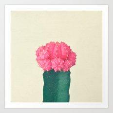 Pink Plaid Cactus Art Print