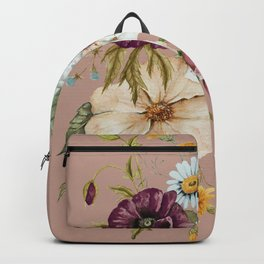Colorful Wildflower Bouquet on Pink Backpack