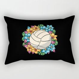 Volleyball With Colorful Flowers Hawaii Rectangular Pillow