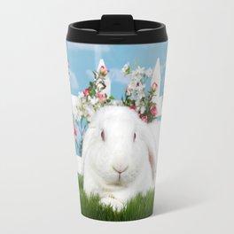 White lop eared bunny in a flower garden Travel Mug
