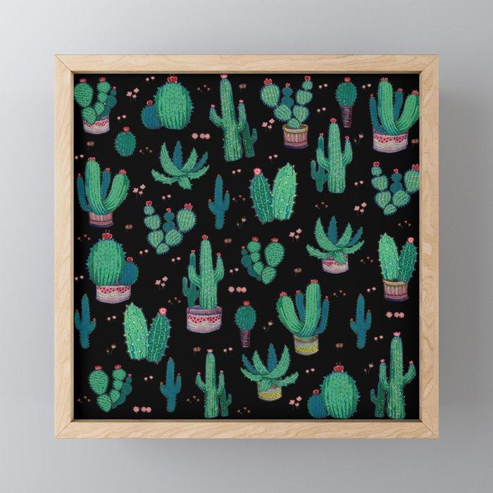 Simple cactus Framed Mini Art Print