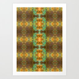 Bohemian mint and brown pattern Art Print