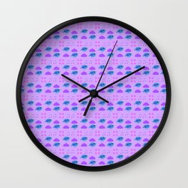 Birdies with flowers and musical notes Wall Clock