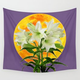 EASTER LILIES ON LILAC GOLDEN MOON ABSTRACT Wall Tapestry
