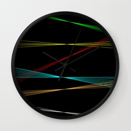 Black Background With Lazer Lines Wall Clock