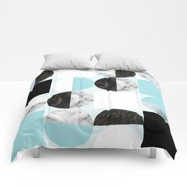 Mid Modern Moon and Sun Geometric Pattern - blue Comforters