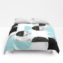 Mid Modern Moon and Sun Geometric Pattern - blue Comforters