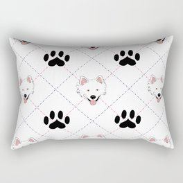 American Eskimo Paw Print Pattern Rectangular Pillow
