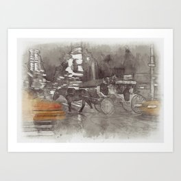 NYC Yellow Cabs Horse Car - SKETCH Art Print