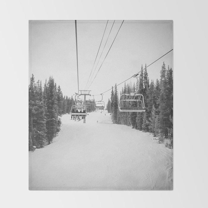 Ski Chair Lift B&W \\ Deep Snow Season Pass Dreams \\ Snowy Winter Mountains Landscape Photography Throw Blanket