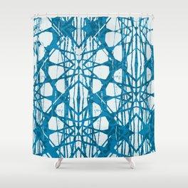 Blue and White Batik  Shower Curtain