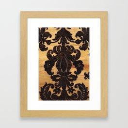 Wood Burnt Damask Framed Art Print