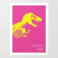jurassic park Art Prints featuring Retro Jurassic Park by Joseph Raj