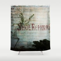 shoe Shower Curtains featuring Shoe Repairing by Okae12