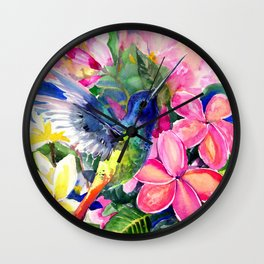 Hummingbird and Plumerias Wall Clock