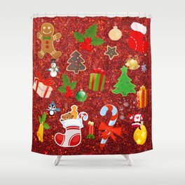 Cute Christmas Mix, red Shower Curtain