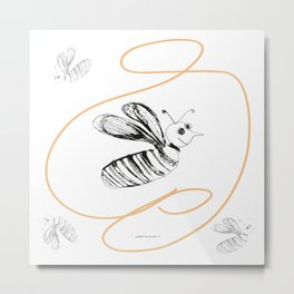 Crazy Bee drawing illustration for kds Metal Print