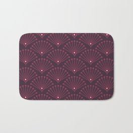 Vintage Art Deco pattern- Wine red dot dot dot Bath Mat