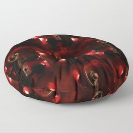 Fiery Red Violin Scroll Floor Pillow