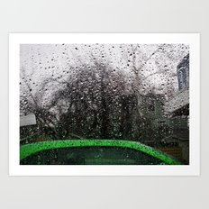 Green Car and Rain Art Print